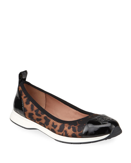 Image 1 of 4: Taryn Rose Bailey Patent Rose Leopard Ballet Sneakers