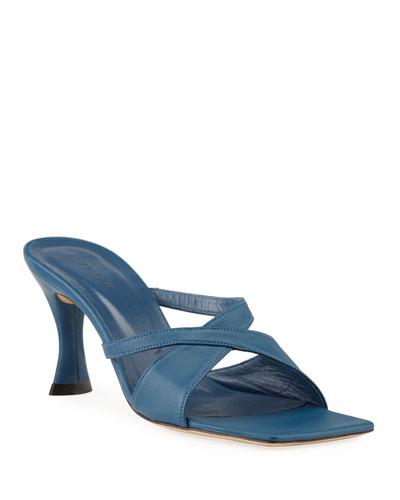 Kitty Leather Crisscross Slide Sandals