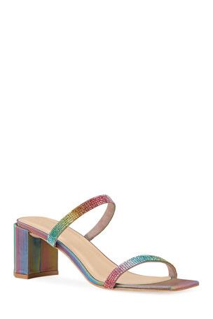 BY FAR Tanya Rainbow Studded Leather Sandals