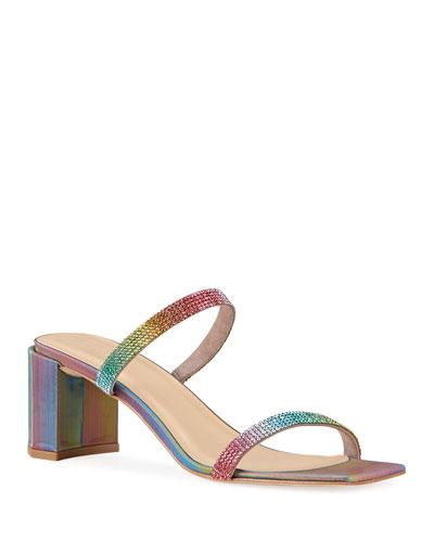 Tanya Rainbow Studded Leather Sandals