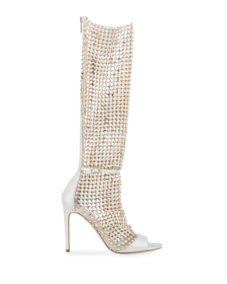 Image 2 of 4: Rene Caovilla Galaxia 105mm Jeweled Open-Toe Knee Boots