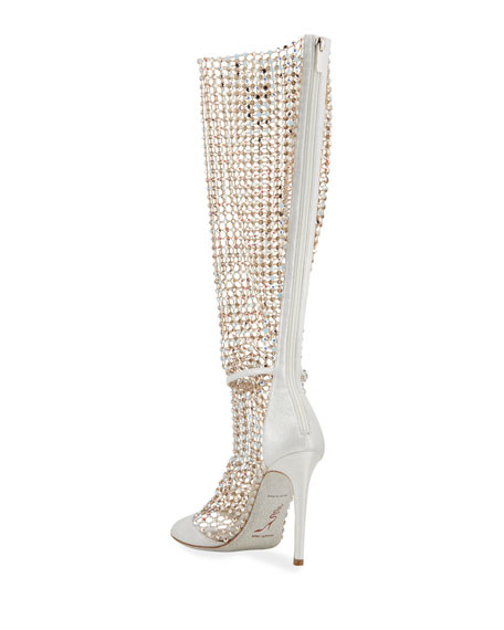 Image 4 of 4: Rene Caovilla Galaxia 105mm Jeweled Open-Toe Knee Boots