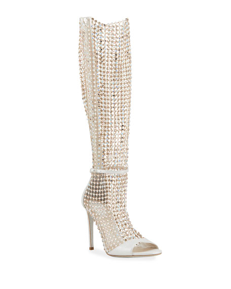 Image 1 of 4: Rene Caovilla Galaxia 105mm Jeweled Open-Toe Knee Boots