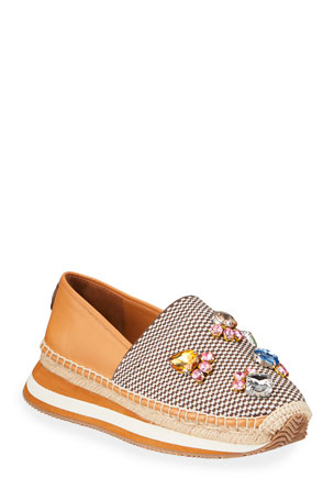 Tory Burch Daisy Embellished Slip-On Espadrille Sneakers