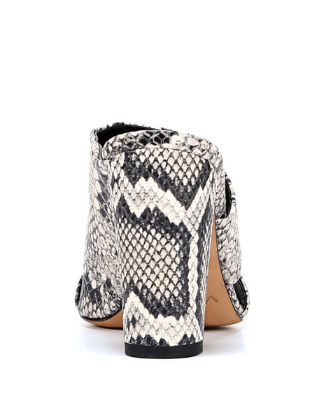 Vince Hiro Snake-Print Leather Mule Sandals