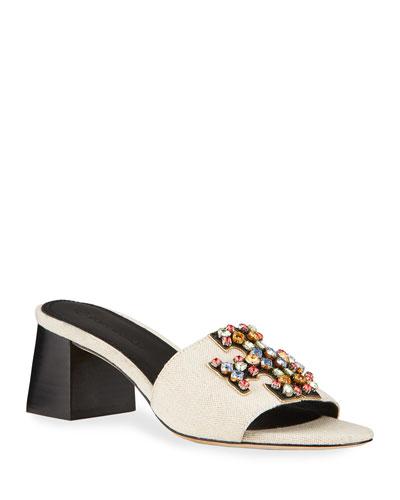 Ines Rainbow Crystal Slide Sandals
