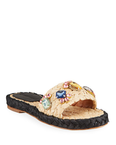 Multicolor Crystal Raffia Slide Sandals