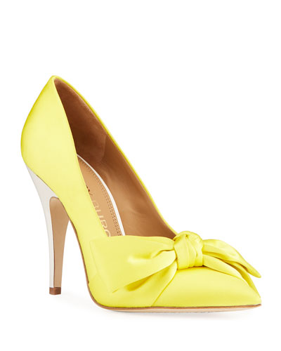 Leather Bow Cone-Heel Pumps