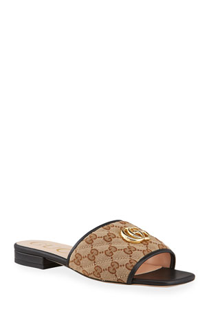 Gucci Jolie Original GG Canvas Slides With Double G