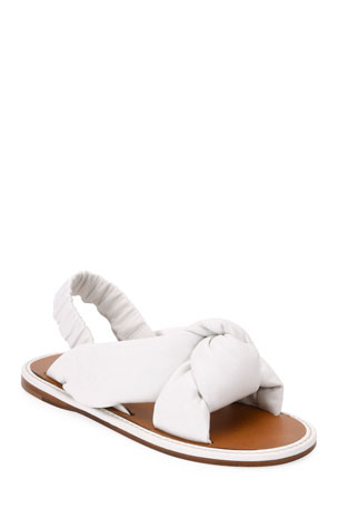 Miu Miu Flat Knotted Leather Slingback Sandals