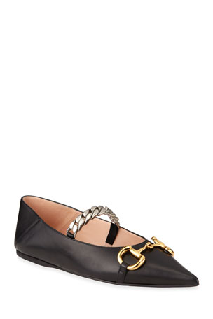 Gucci Deva Ballet Flats With Chain And Horsebit