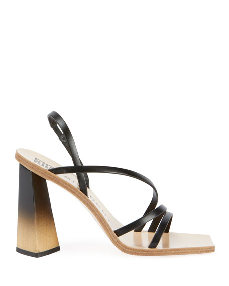 Image 2 of 4: 100mm Strappy Leather Ombre-Heel Sandals