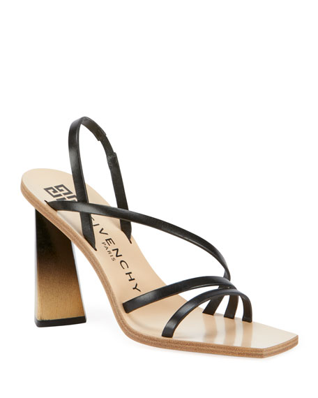 Image 1 of 4: 100mm Strappy Leather Ombre-Heel Sandals