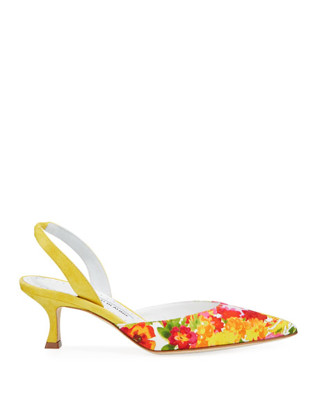 Manolo Blahnik Carolyne Kitten-Heel Floral Pumps