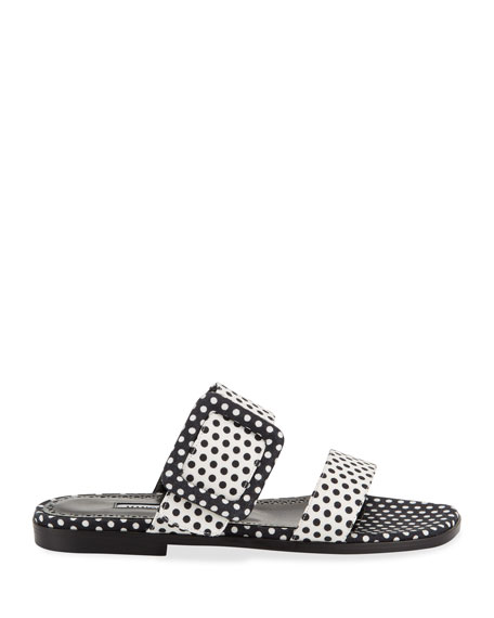 Image 2 of 4: Manolo Blahnik Tituba Flat Polka-Dot Buckle Slide Sandals