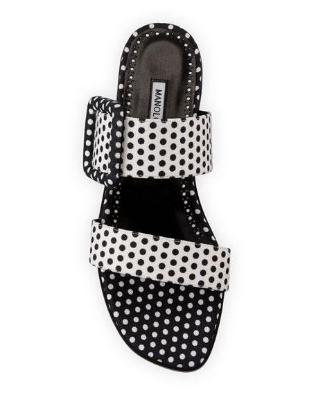 Image 3 of 4: Manolo Blahnik Tituba Flat Polka-Dot Buckle Slide Sandals