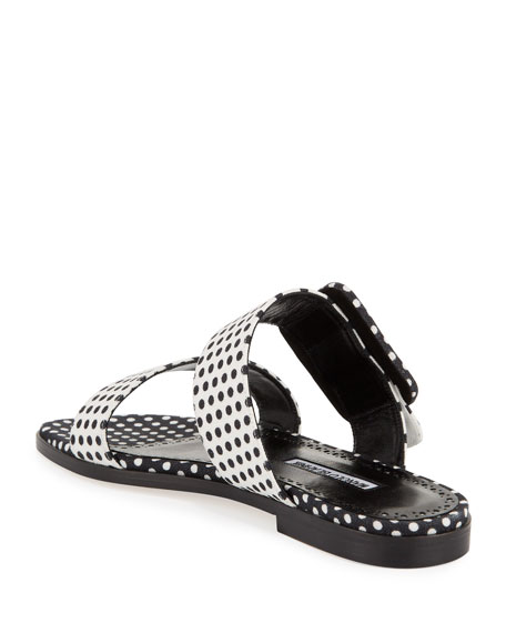Image 4 of 4: Manolo Blahnik Tituba Flat Polka-Dot Buckle Slide Sandals