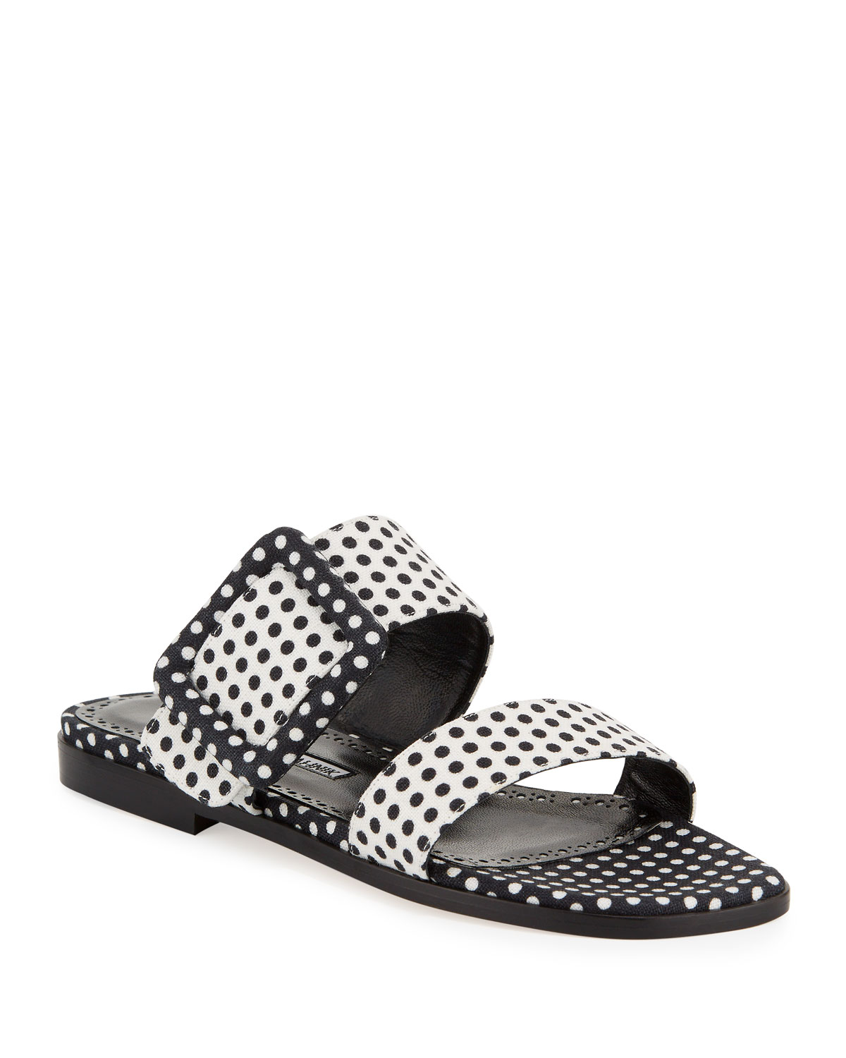 Manolo Blahnik Tituba Flat Polka-Dot Buckle Slide Sandals