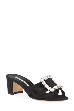 Manolo Blahnik Iluna 50mm New Crepe Buckle Slide Sandals