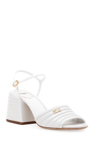 Fendi 65mm Stitched Leather Block-Heel Sandals