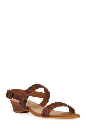 Sesto Meucci Glen Woven Leather Two-Band Sandals