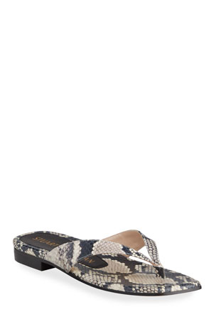 Stuart Weitzman Aldona Python-Print Thong Sandals