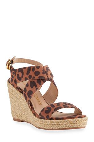 Stuart Weitzman Ellete Leopard-Print Wedge Sandals