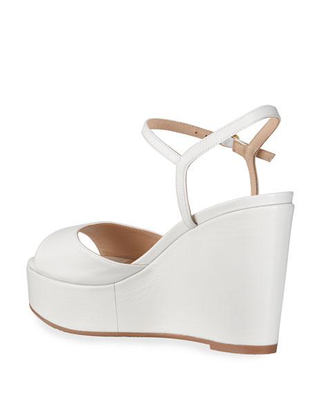 Stuart Weitzman Palmina Cork Wedge Peep-Toe Sandals