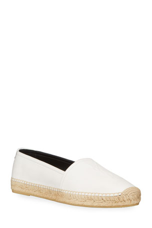 Saint Laurent Monogram YSL Soho Leather Slip-On Espadrille Flats