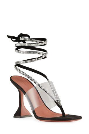 Amina Muaddi Zula Crystal Ankle-Wrap Evening Sandals