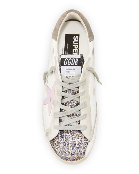 Golden Goose Superstar Mixed Leather Glitter Sneakers