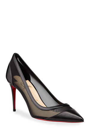 Christian Louboutin Galativi Mesh & Leather Red Sole Pumps