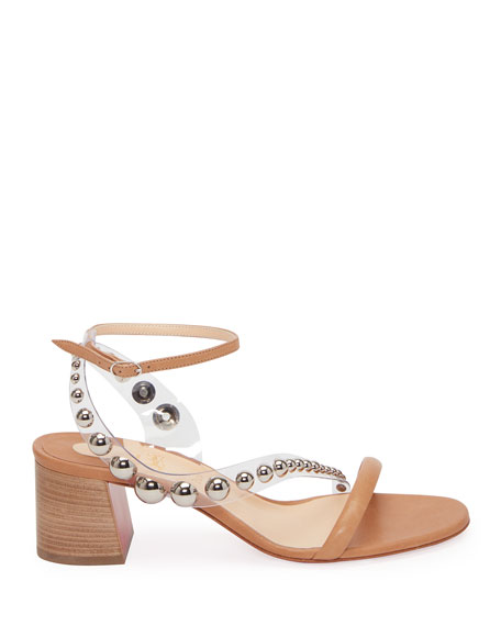 Image 2 of 2: Christian Louboutin Corinne Studded Vinyl Red Sole Sandals