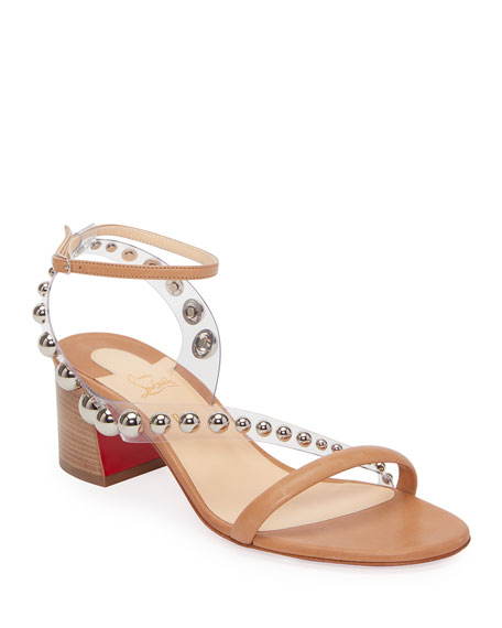 Image 1 of 2: Christian Louboutin Corinne Studded Vinyl Red Sole Sandals