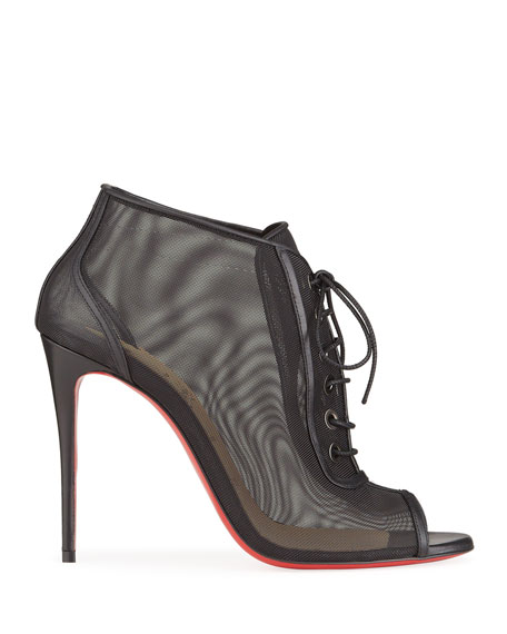 Image 2 of 4: Christian Louboutin Open Ondessa Mesh & Leather Red Sole Booties