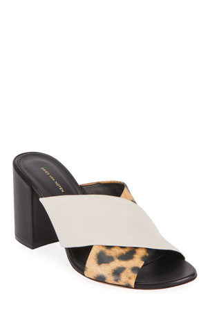 Dries Van Noten Crisscross Block-Heel Slide Sandals