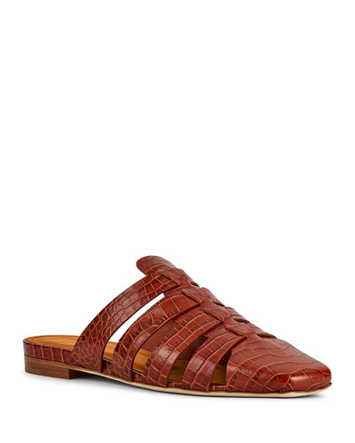 Diana Woven Mock-Croc Cage Mules