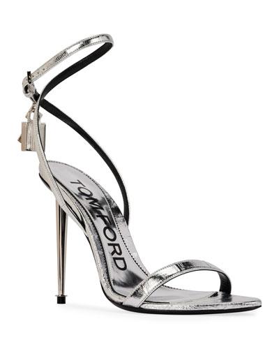 105mm Metallic Lock & Key Stiletto Sandals