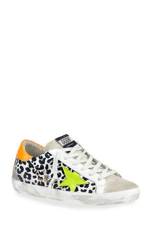 Golden Goose Superstar Leopard-Print Bright Sneakers
