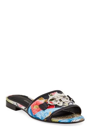 Salvatore Ferragamo Rhodes Printed Gancini Slide Sandals