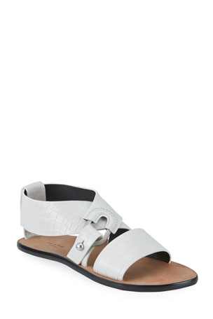 Rag & Bone August Mock-Croc Flat Sandals