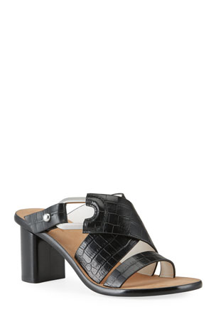 Rag & Bone August Heeled Mock-Croc Mule Sandals