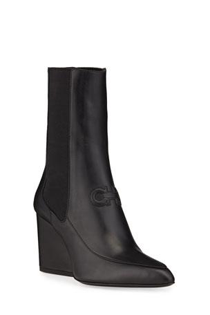 Salvatore Ferragamo Marineo Gancini Leather Block-Heel Booties
