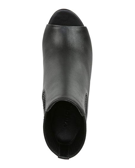 Vince Elsie Leather Open-Toe Heeled Booties