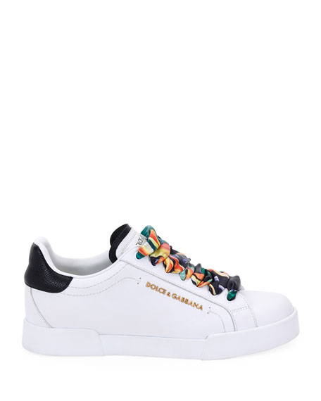 Dolce & Gabbana Leather Sneakers with Scarf Laces