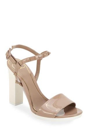 Valentino Garavani 110mm Rockstud Tonal Sandals with Rubber Sole