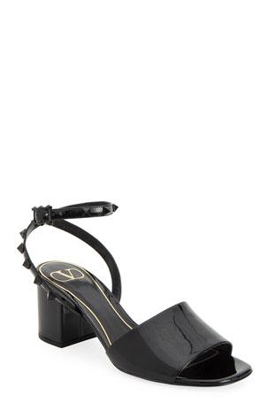 Valentino Garavani 60mm Rockstud Tonal Patent Leather Sandals