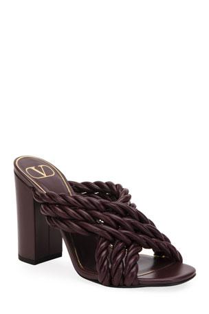 Valentino Garavani Crisscross Napa Rope Slide Sandals