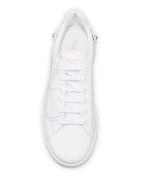 Image 3 of 4: Valentino Garavani Backnet Low-Top Sneakers with Rockstud Tab