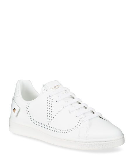 Image 1 of 4: Valentino Garavani Backnet Low-Top Sneakers with Rockstud Tab
